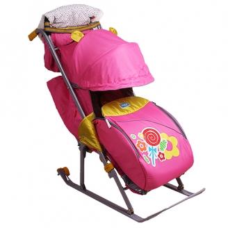 Санки-коляска Ника детям 7 Леденец розовый