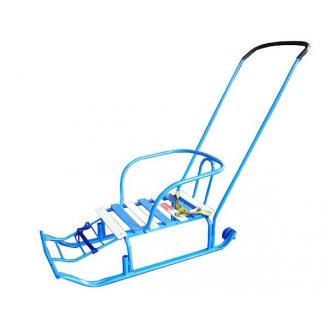 Санки Тимка 3+ с большим колесом голубой