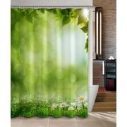 Шторка для ванной, ткань полиэстер с утяжелит, 180x180cм, фотопечать, Ромашки на траве