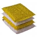 Губка кухонная в упаковке 4шт золот-серебр