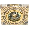 Светильник Эра DK27 GD/WH 12V/220V 50W MR16 квадрат стекло рисунок антик золото/прозрачный