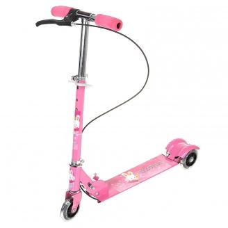 Самокат стальной 508PS с ручным тормозом три светящихся колеса PVC d=100мм розовый до 40кг