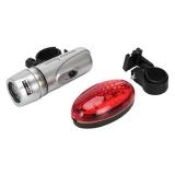 Набор велосипедный фонарь задний 7 реж + передний 2 реж, 5 диодов пит.батар.2/4ААА, красный/серый