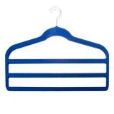 Набор вешалок 2 шт многоярусных, пластик, покрытие флок, 45x36,2x5,5см, синий, LSG-004