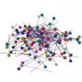 Набор английских булавок с цветными головками, на блистере, 3,5см, сталь, пластик, арт НС-026