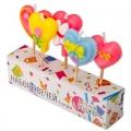 Набор свечей 5шт фигурных с сердечками для торта, 10х8х2см, парафин