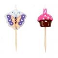 Набор свечей 5шт фигурных с бабочками и пирожными для торта, 10х8х2см, парафин