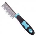 Гребень рядовой 19см зубья 2,2см, с прорезиненной ручкой, черно-голубой