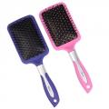 Расческа массажная плоская, пластик, силикон, 25,5см, розовый/фиолетовый, 36180-5